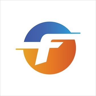 Letter f initial in circle logo template