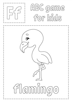 Letter f is for flamingo. abc game for kids. alphabet coloring page. cartoon character.