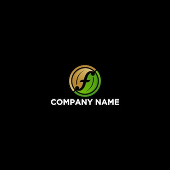 Letter f leaf agriculture logo design