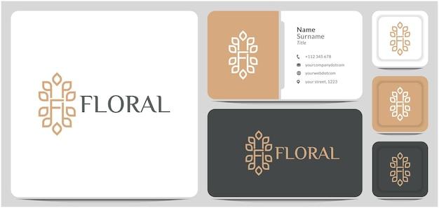 편지 f 잎 로고 디자인 벡터 꽃의 자연