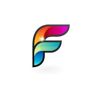 文字fのロゴデザインカラフルな3dスタイルのロゴ