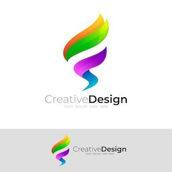 文字fロゴデザインベクトル、3dカラフルなロゴ