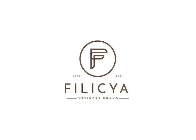 원형 모양의 문자 f 로고 디자인