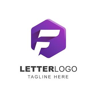 幾何学的形状の文字fロゴデザイン