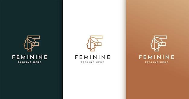 女性の顔と文字fのロゴデザイン