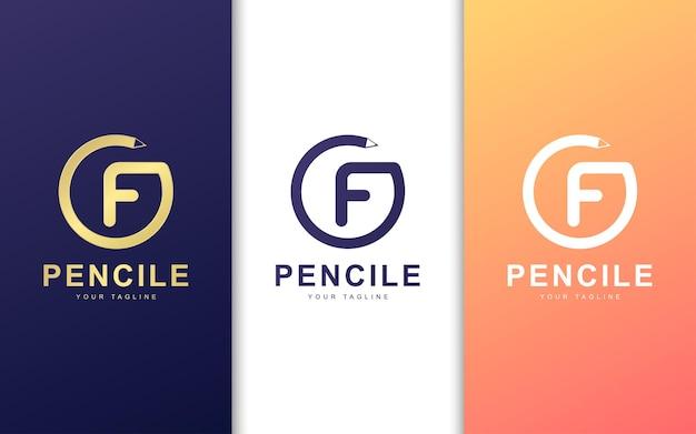 鉛筆の円形の文字fのロゴ。現代の学校のロゴのコンセプト