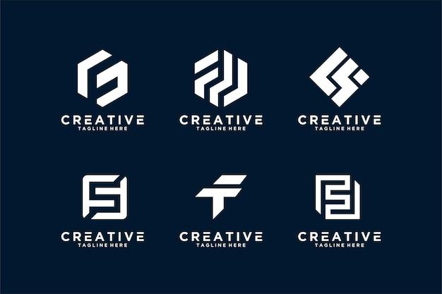 Буква f логотип начальный набор vektor premium