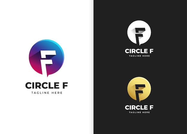 Буква f логотип векторные иллюстрации с дизайном в форме круга
