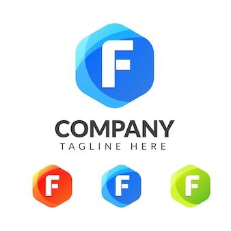 カラフルな背景の文字fロゴ、クリエイティブ産業、ウェブ、ビジネス、会社のための文字の組み合わせのロゴデザイン。