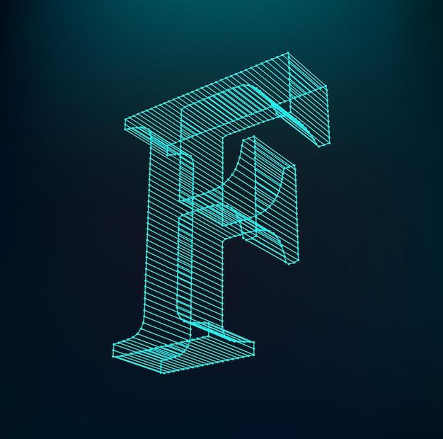 文字fのロゴタイプ。ネオンアルファベット