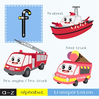 Letter f lowercase tracing transportations vocabulary