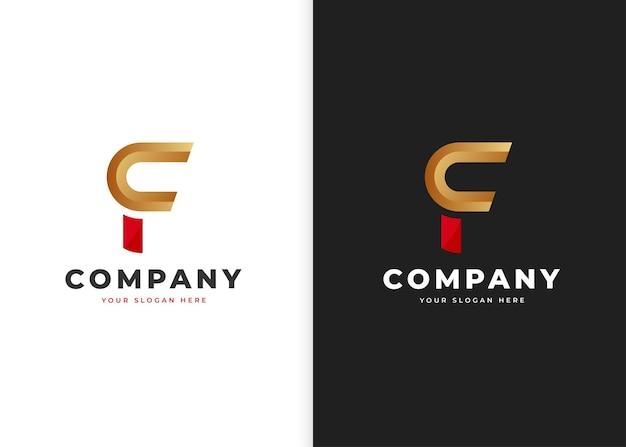 文字fの豪華なロゴデザインテンプレート。ベクトルイラスト