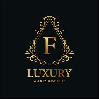 文字fの豪華な飾りまたは花のフレームのロゴのテンプレートデザイン。