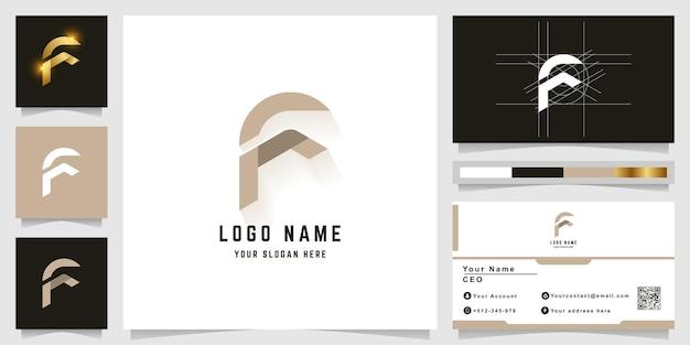 Letter f monogram logo with business card design