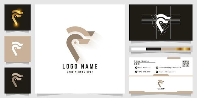 名刺デザインの文字fまたはイーグルヘッドのモノグラムロゴ