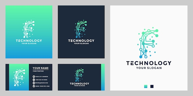Letter f for technology logo design dot concept with business card