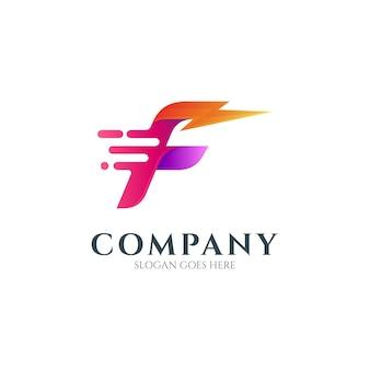 Letter f and thunder logo concept