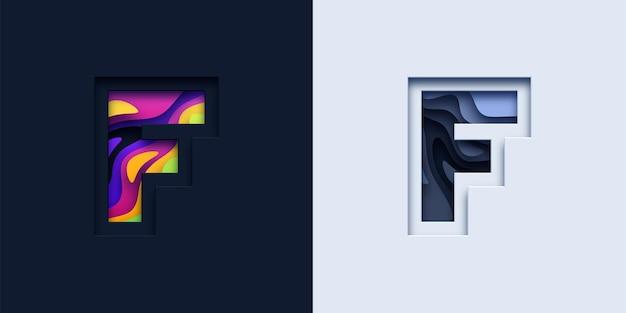 文字fタイポグラフィロゴ