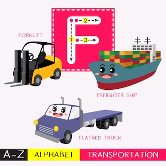 Letter f uppercase tracing transportations vocabulary