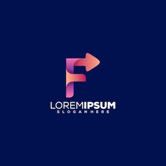 Буква f со стрелкой дизайн логотипа