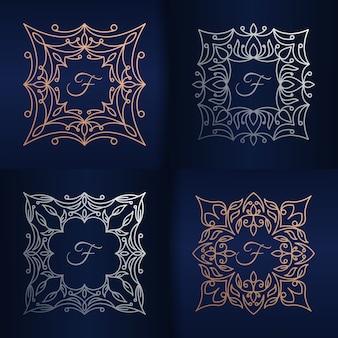 花のフレームのロゴのテンプレートと文字f