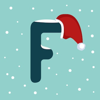 Letter f with snow and red santa claus hat. festive font for christmas and new year