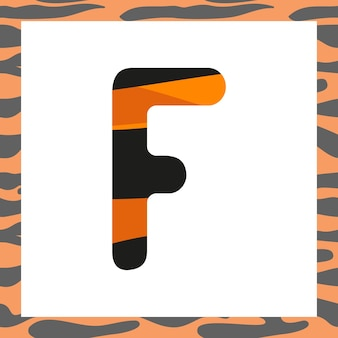 Letter f with tiger pattern festive font and frame from orange with black stripes alphabet symbol fo...