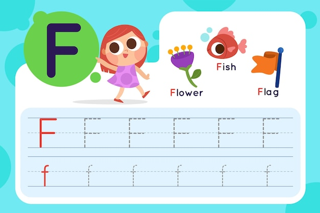 Letter f worksheet with flower and flag