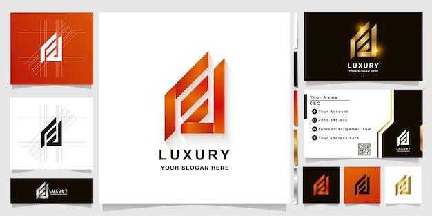 Буква fa или шаблон логотипа вензеля с дизайном визитной карточки