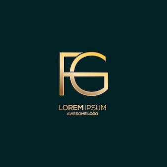 Letter fg logo luxury gold color template