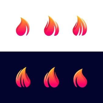 レターファイアセットグラデーションカラーロゴ