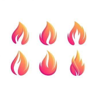 Letter fire set gradient color logo