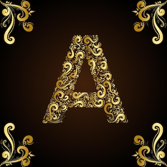Letter a flower abstract art