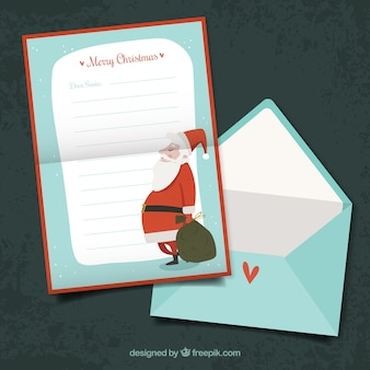 Letter for santa claus and envelope