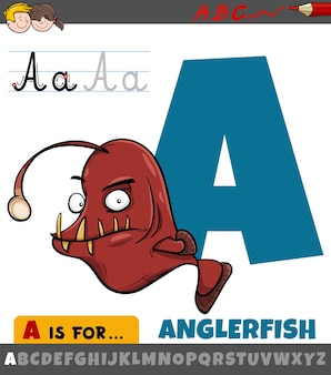 Letter a from alphabet with cartoon anglerfish animal