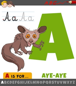 Letter a from alphabet with cartoon aye-aye animal character
