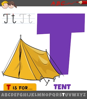 Letter from alphabet with cartoon tent object