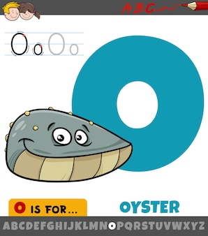 Letter from alphabet with oyster animal character