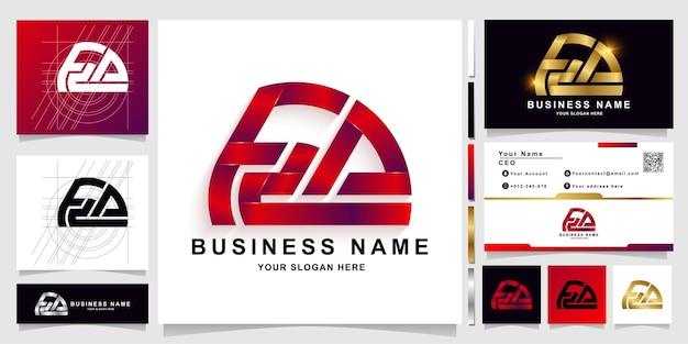 명함 디자인이 있는 편지 fza 또는 f2a 모노그램 로고 템플릿