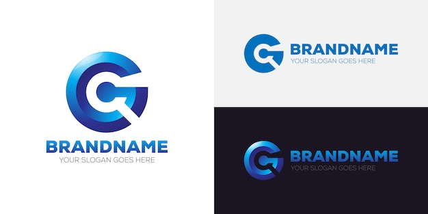 Letter g 3d logo brand template corporate
