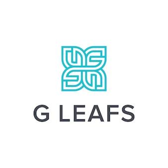 문자 g 및 잎 단순하고 매끄러운 창조적 인 기하학적 현대 로고 디자인