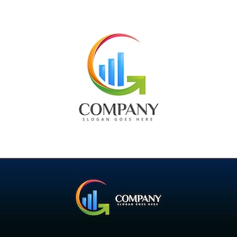 Letter g and arrow growth logo template