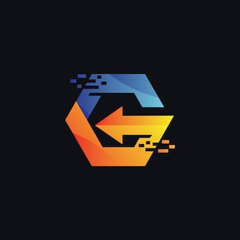 Letter g and arrow logo