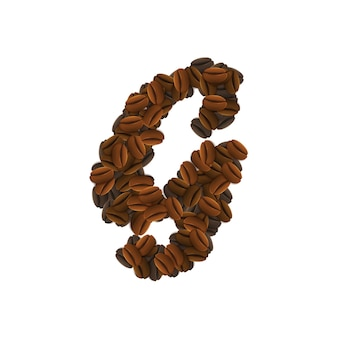 Letter g of coffee grains
