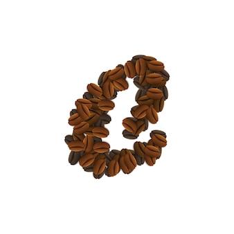 Lettera g di chicchi di caffè