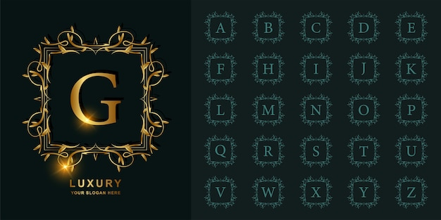 Letter g or collection initial alphabet with luxury ornament floral frame golden logo template. Premium Vector