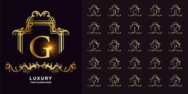 Letter g or collection initial alphabet with luxury ornament floral frame golden logo template.