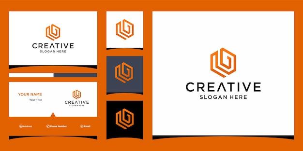 명함이 있는 편지 g 큐브 로고 디자인