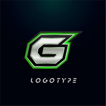 ビデオゲームのロゴとスーパーヒーローのモノグラムスポーツゲームのエンブレムの文字g大胆な未来的な文字