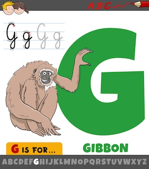Letter g from alphabet with cartoon gibbon ape